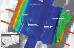 An annotated bathymetry data image of the Silver Pit