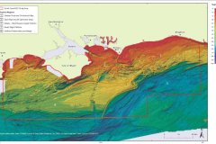 Bathymetric image of the South Coast REC Study Area showing the Physical Regions 1 to 5