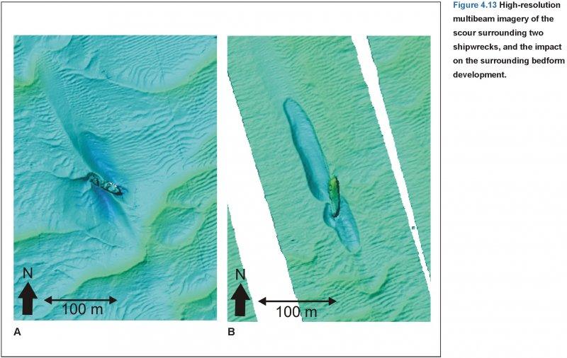 Multibeam image of two shipwrecks