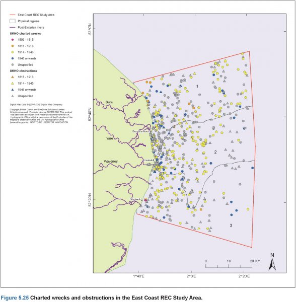 UKHO charted wrecks and obstructions