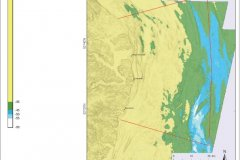 Modelled sea level map 45m below OD (12,00-9000BP)