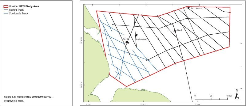 Humber REC geophysical survey lines 2008/2009