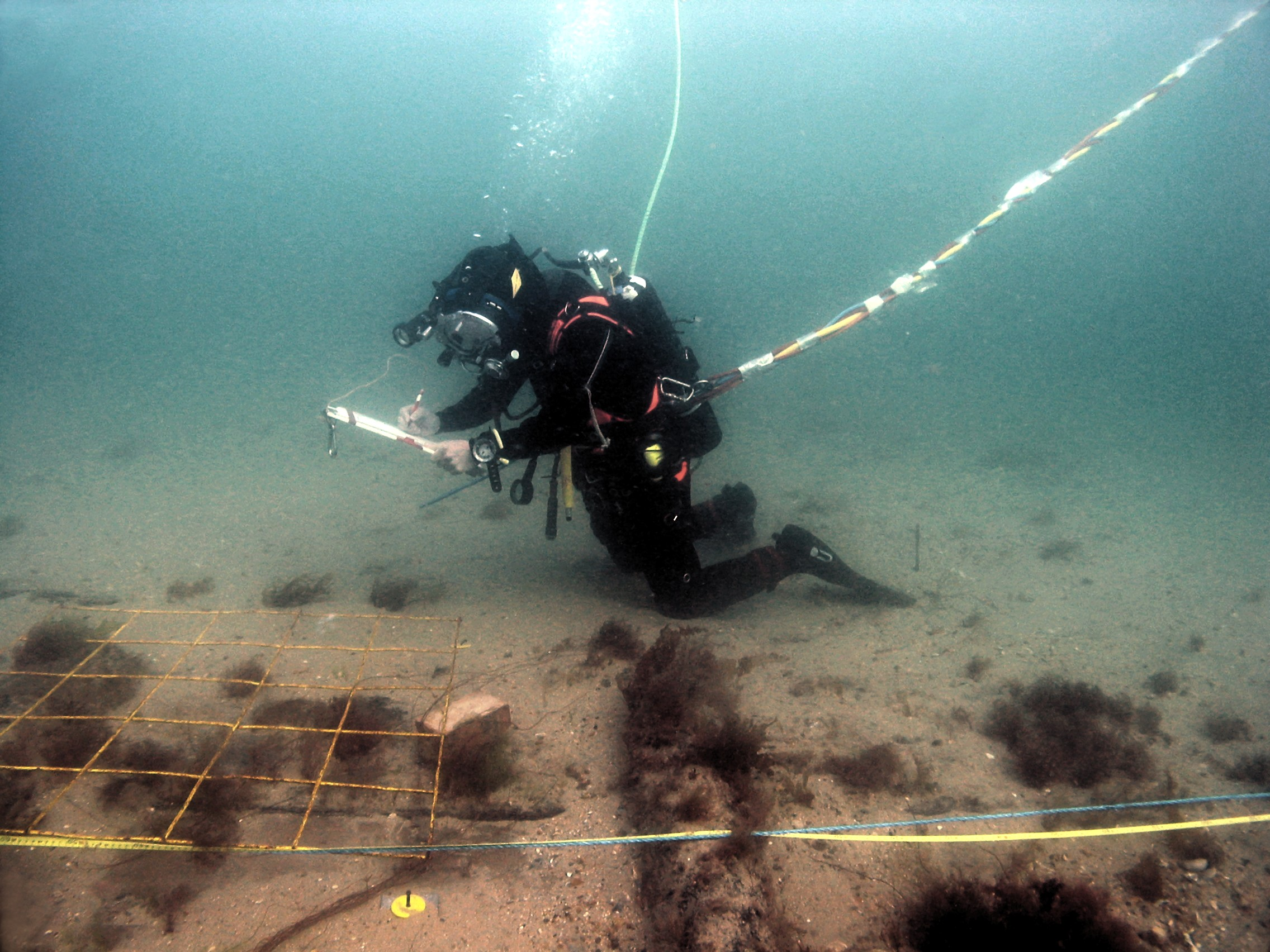 Recording on the Swash Channel wreck site.