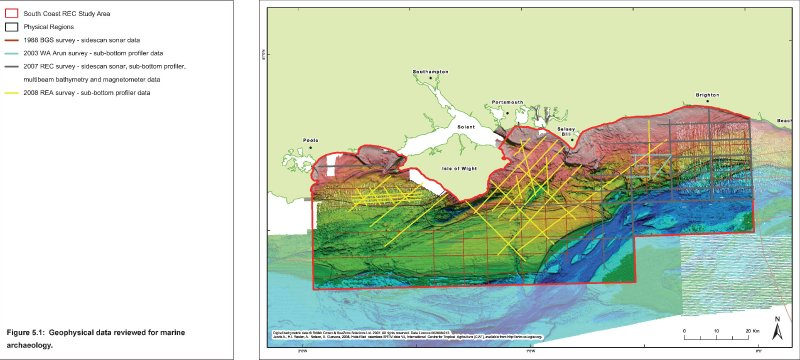 Bathymetry image with geophysical survey types, lines and dates