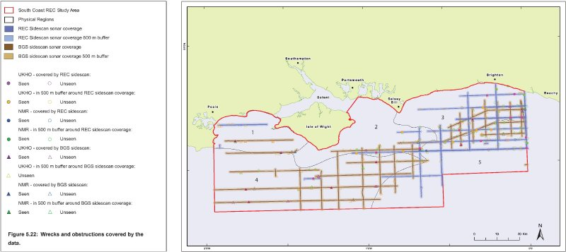 Wrecks and obstructions covered by the South Coast REC geophysical survey