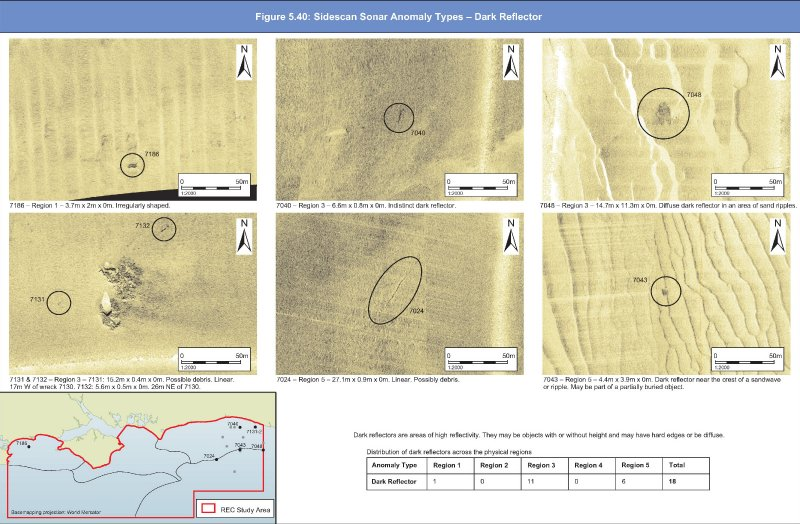 Geopysical sidescan anomalies; examples of dark reflectors
