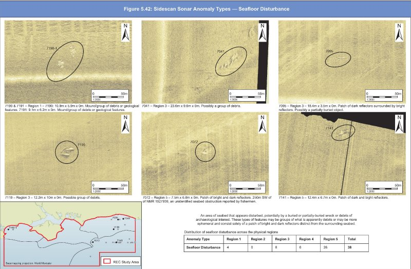 Geopysical sidescan anomalies; examples of possible seafloor disturbances