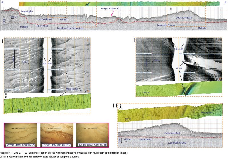 Northern palaeovalley and banks with multibeam and sidescan sonar data images
