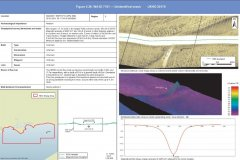 Unidentified wreck with sidescan data and bathymetry data images